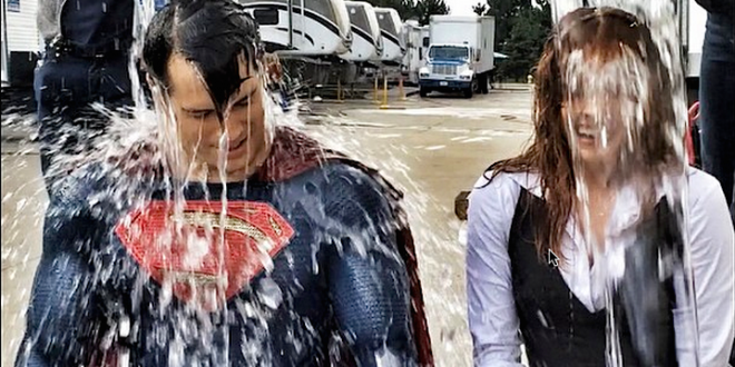 Henry Cavill Takes The ALS Ice Bucket Challenge In Full Superman Costume With Amy Adams